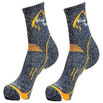 Winis Unisex Breathable Trekking Socks, Coolmax Hiking Lightweight Crew Socks, High Performance Cushion Climbing Socks, Sweat Absorbent and Quick Drying Athlete Socks for Running (Dark Grey)