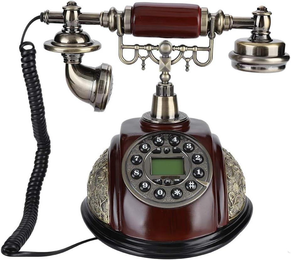 Eboxer Teléfono Fijo Retro Cableado Antiguo Vintage de Sistema Dual FSK/DTMF con Función Interrupción/Rellamada para Casa Hotel
