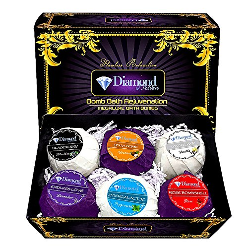 #1 Bath Bombs Gift Set – Organic Shea & Coco Butter to Moisturize Dry Skin, Spa Kit Bath Pearls & Flakes – Perfect Birthday Gift, Anniversary Gift or Mother Day Gift by Diamond Driven (6 pack 5.4