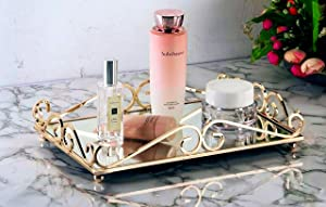 Lucaslo Tray Mirror, Gold Mirror Tray Perfume Vanity Tray Dresser Tray Ornate Tray Metal Decorative Tray Perfume Jewelry Makeup Organizer Tray for Bathroom Dresser