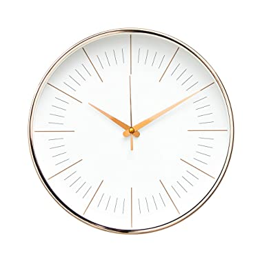 """Arospa Luxury Modern 12"""" Silent Non-Ticking Wall Clock with Rose Gold Frame (Contemporary White)"""