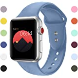 Sport Band For Apple Watch,Soft Silicone Strap Replacement Wristbands For Apple Watch Sport Series 3 Series 2 Series 1 NIKE+ Sports and Edition (Denim Blue 42mm S/M)