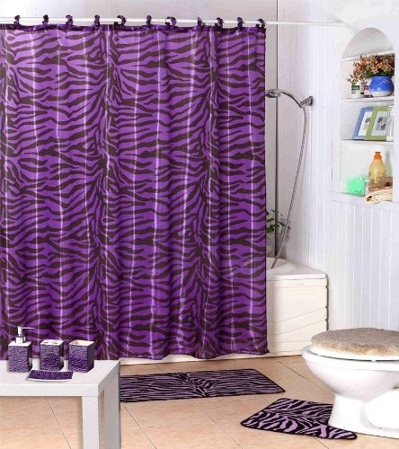 Shower Curtain Kids Jungle Safari Purple Zebra Design with Decorative Roller Rings/hooks by WPM