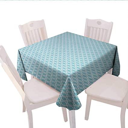 Modern Square Tablecloth Pool Water Wavy Lines Circled Web Like Design with  Backdrop Art Print Farmhouse Tablecloth 50