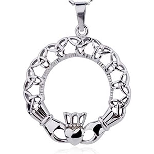 Amazon Irish Oval Celtic Triquetra Claddagh Pendant Necklace