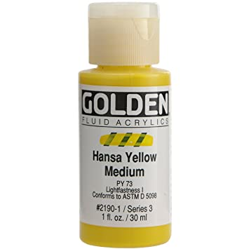 amazon com golden fluid acrylic paint 1 ounce hansa yellow medium