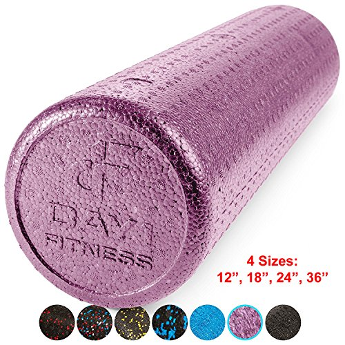 High Density Muscle Foam Rollers by Day 1 Fitness - Sports Massage Rollers for Stretching, Physical Therapy, Deep Tissue and Myofascial Release - For Exercise and Pain Relief – Solid Purple, 24