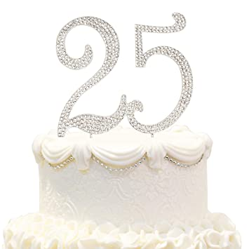 Bling Crystal Sweet 25 Birthday Cake Topper