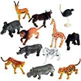 SUPER TOY Wild Animal Learning Toys for Kids (Pack of 12) - Tiger, Giraffe, Elephant, Zebra etc