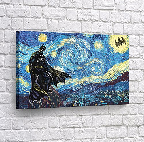 (Buy4Wall Batman Wall Art Stary Night's Warrior Canvas Print Decorative Artwork Super Hero Home Decor Stretched and Framed -%100 Handmade in The USA -)