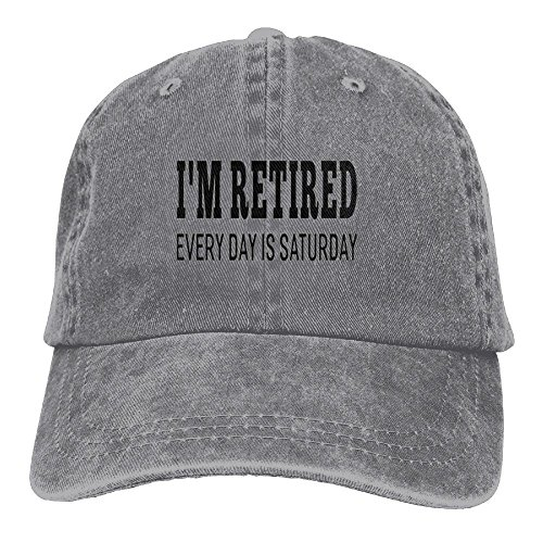 Retired Baseball - HXang I'm Retired Every Day Is Saturday Adjustable Washed Cap Cowboy Baseball Hat Ash
