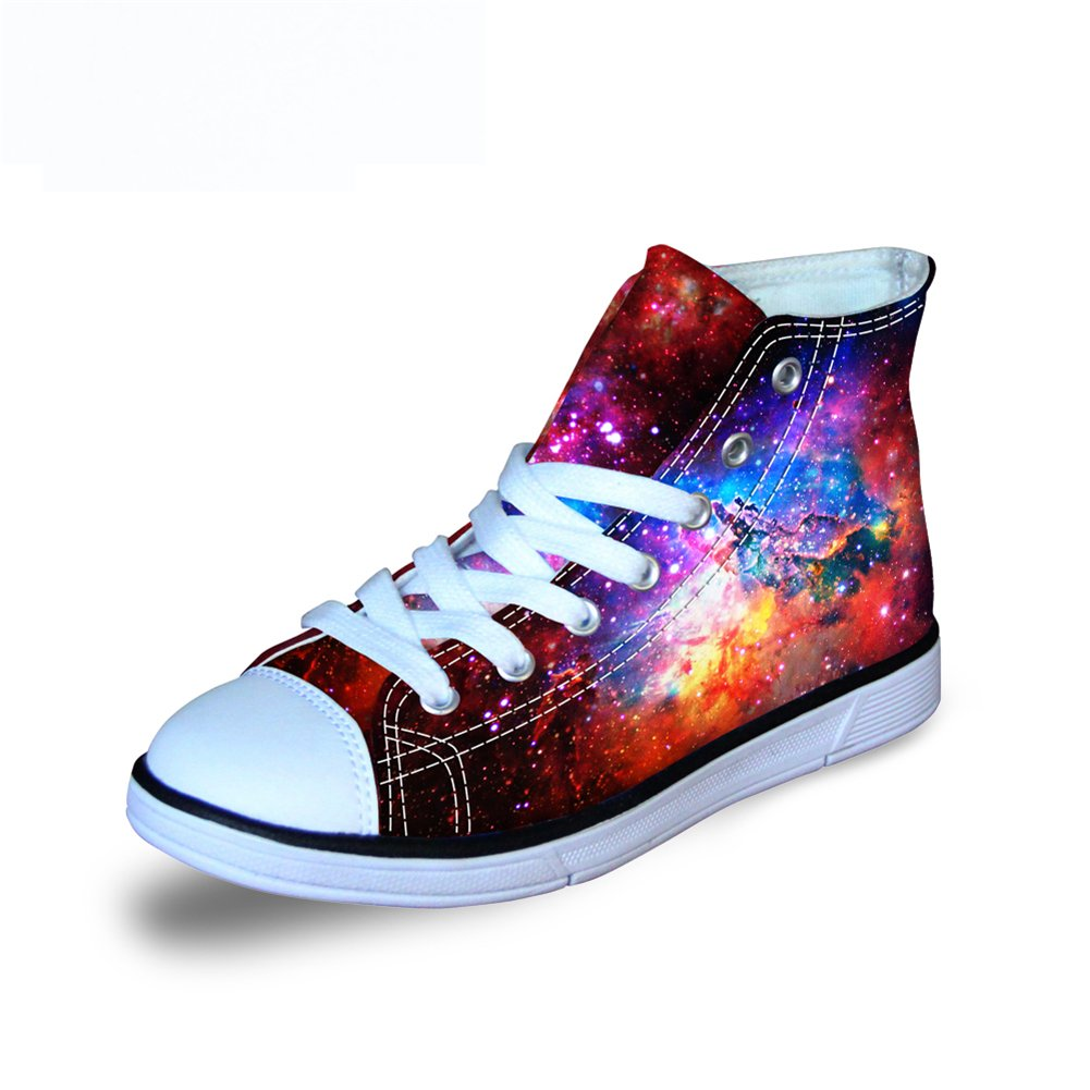 FOR U DESIGNS Cool Red Galaxy Pattern Canvas Little Kids High-Top Fashion Sneaker US 3