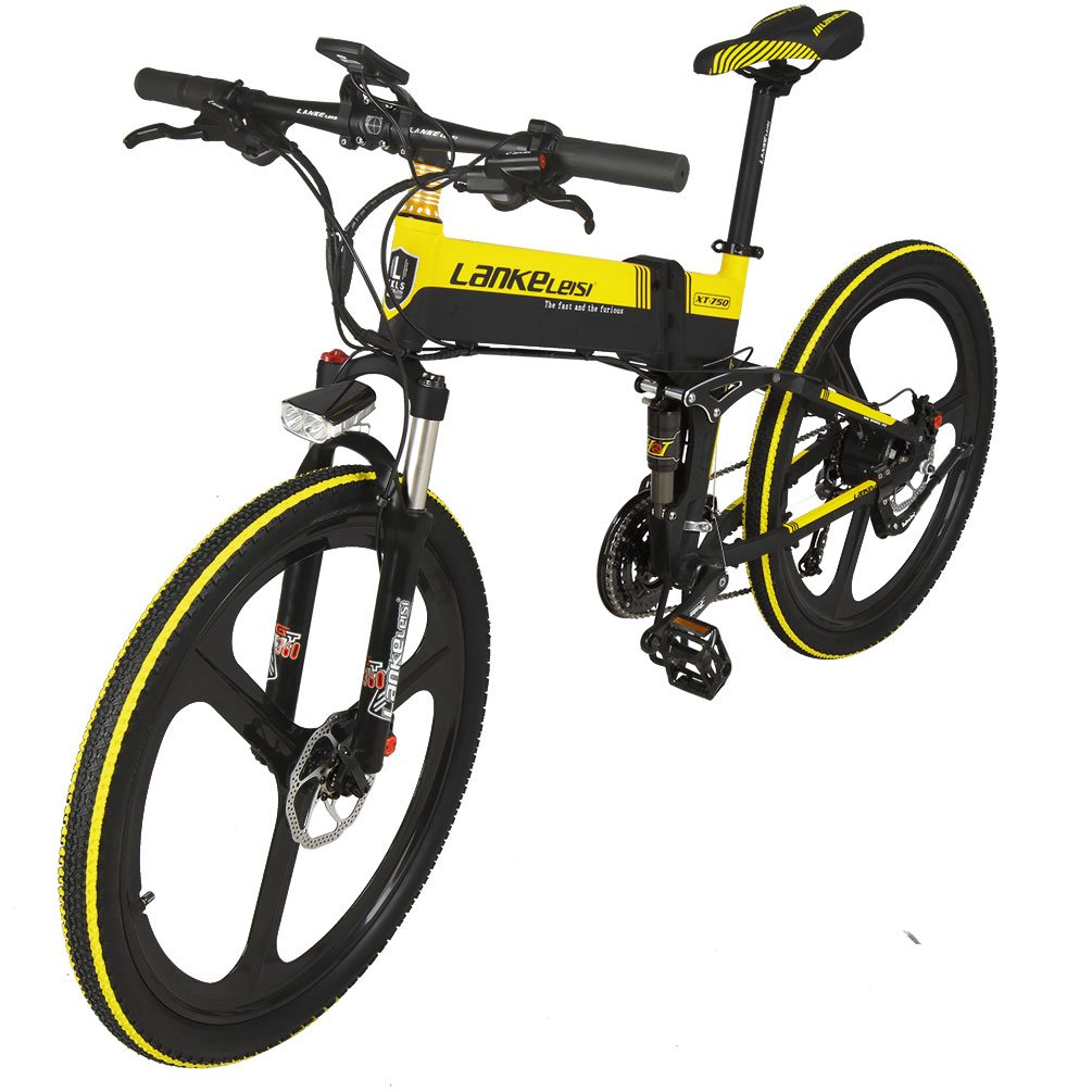 lankeleisi xt750 con configuración avanzada 26 pulgadas bicicleta eléctrica plegable integrado rueda 48 V Suspensión completa 7 velocidades litio bicicleta ...