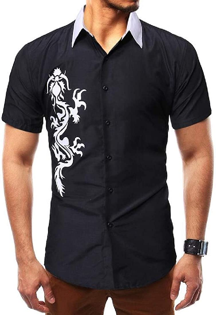 Comaba Men Slim Business Solid Short Sleeve Summer Casual Dress Shirts