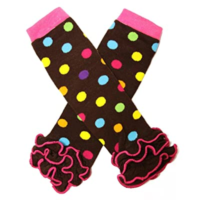 Brown with Multi-Color Dots Ruffle Legwarmers