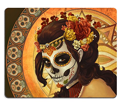 Price comparison product image Wknoon Day of the Dead Sugar Skull Girl Image Made for Rectangle Computer Game Mouse Pad Mat Cloth Cover Non-slip Backing,  9.45 X 7.87 Inch (240mmX200mmX3mm )