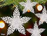 Star Christmas Ornaments - Pack of 24 Clear Star Shaped Xmas Ornaments - Star Decorations - Hanging Stars