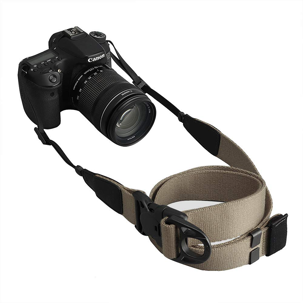 Camera Strap, CAM-in Easily Adjustable Universal Strap Soft Pure Cotton and Cowhide for DSLR SLR Digital Camera Instax Vintage Camera Nikon Canon Sony Pentax Fujifilm (Olive)【2018 Version】