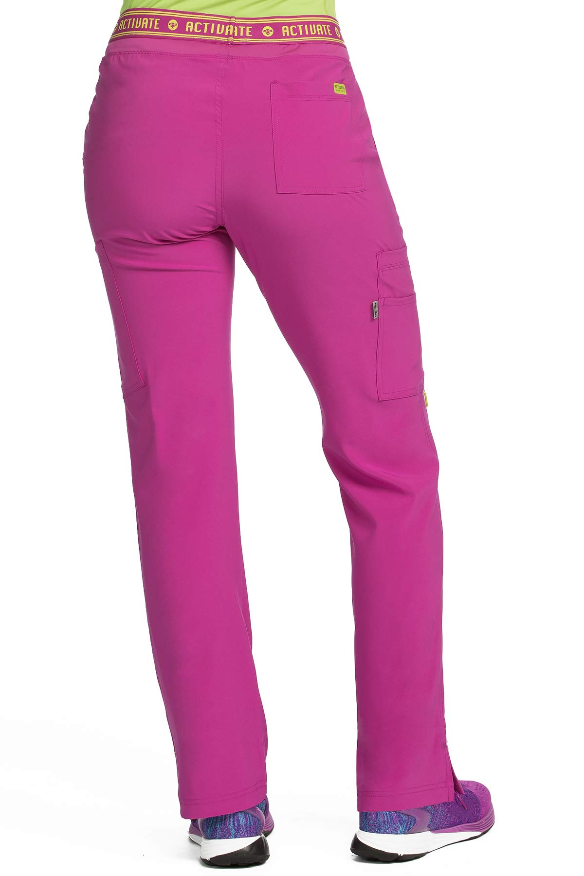 Med Couture Activate Scrub Pants Women, Flow Yoga 2 Cargo Pocket Pant, Magenta, X-Small Tall