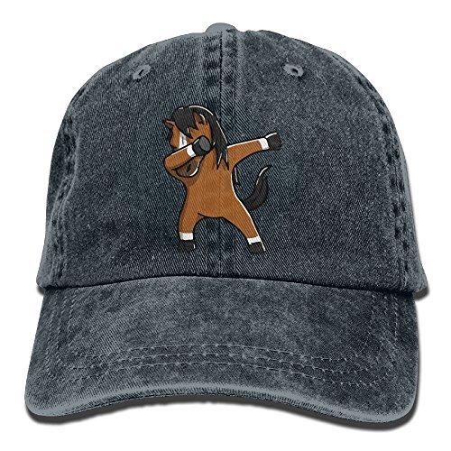 Qevenon-08 Men's/Women's Cute Dabbing Horse Denim Jeanet Baseball Cap Adjustable Hat (Womens Hat Charlie Adjustable)