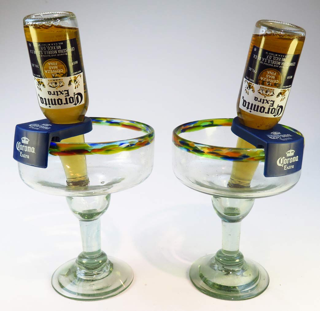 Mexican Glass Margarita Clips Confetti Rim 32 Oz with Coronarita Clips Corona Beer Holders (Set of 2) Eye4Art