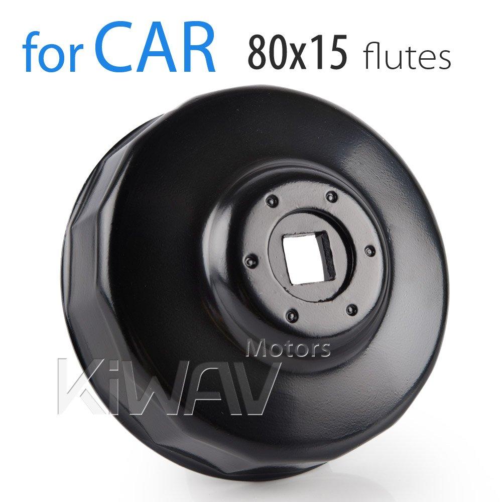 KiWAV Filtro de aceite Cap llave enchufe Herramienta de instalaci/ón de eliminaci/ón 80/mm 15/Flautas