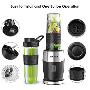 Amazon.com: Smoothie Blender, Personal Blender Single Serve Small Blender for Juice shakes and Smoothies, with Two 570ml BPA-Free Portable Blender Bottles, ...