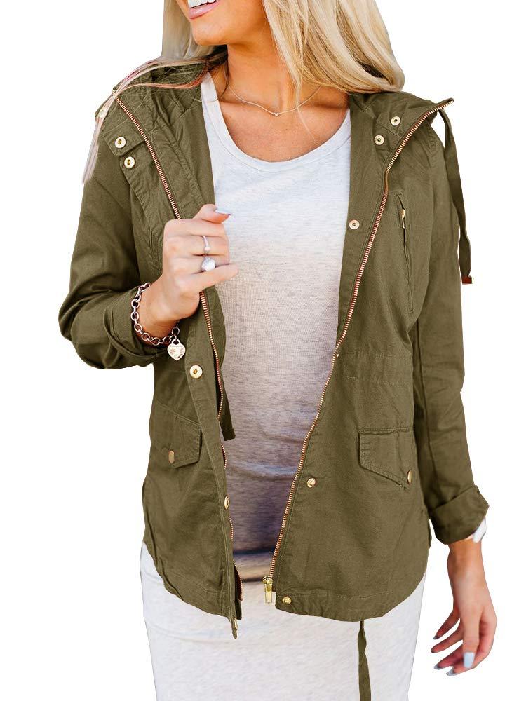 Tutorutor Womens Military Safari Utility Lightweight Jackets Zip Up Coat Multi-Pockets Windbreaker Bomber Jacket Army Green by Tutorutor