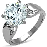 Stainless Steel High Polished 3.9Ct Round Cut Zirconia Engagement Ring Size 5-10