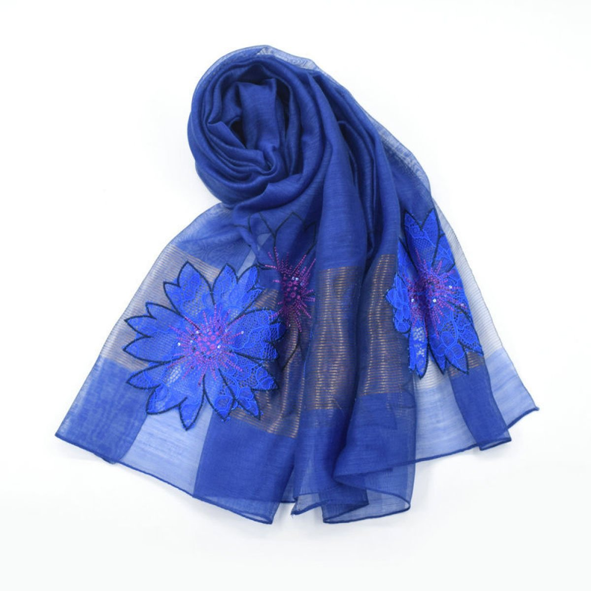 B JUN Silk Scarf Long Section Wild Print Embroidery Embroidery Scarf Shawls Beach Scarf Seasons (Length  190  80cm, Packing of 1) (color   H)
