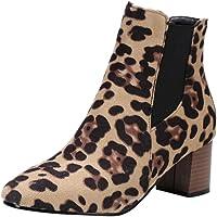 Sunnywill-Chaussures Imprimées Léopard pour Femme,Bottines à Talons Hauts