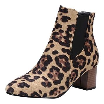 ZARLLE_Botas Botas Martin para Mujer OtoñO Invierno,ZARLLE Moda Zapatos De Gamuza Leopardo Mediano Alto