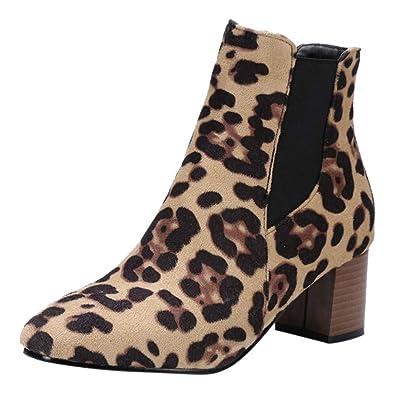 fc22cd262c70 Femme Bottes Imprimé LéOpard Daim Bottine Femmes Hiver Chaud Ankle Basse  Bottes Chic CompenséEs Bottines Talon