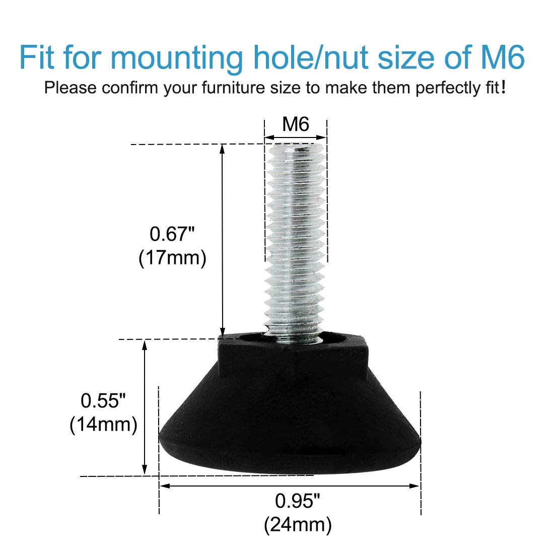uxcell M6 x 17 x 24 Screw on Leveling Feet Adjustable Leveler Floor Protector for Machine Furniture Sofa Table Desk Leg 12 Pack