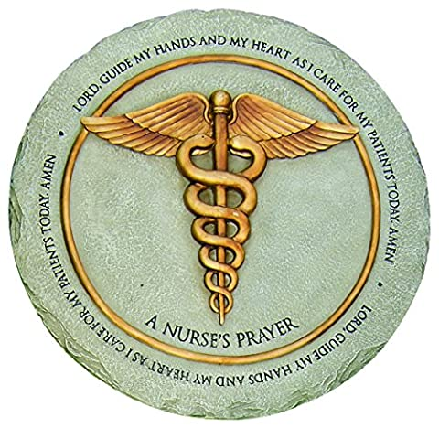 Nurse's Prayer Caduceus Grey Goldtone 10 Inch Resin Decorative Garden Stepping Stone - Peace Stepping Stone