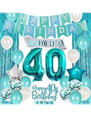 10th Birthday Decorations for Girls Teal, Double Digits Party Supplies Turquoise Banner Cake & Cupcake Toppers Number 10 Helium Balloon Star Foil Balloon for 10 Year Old Girl Party Decorations