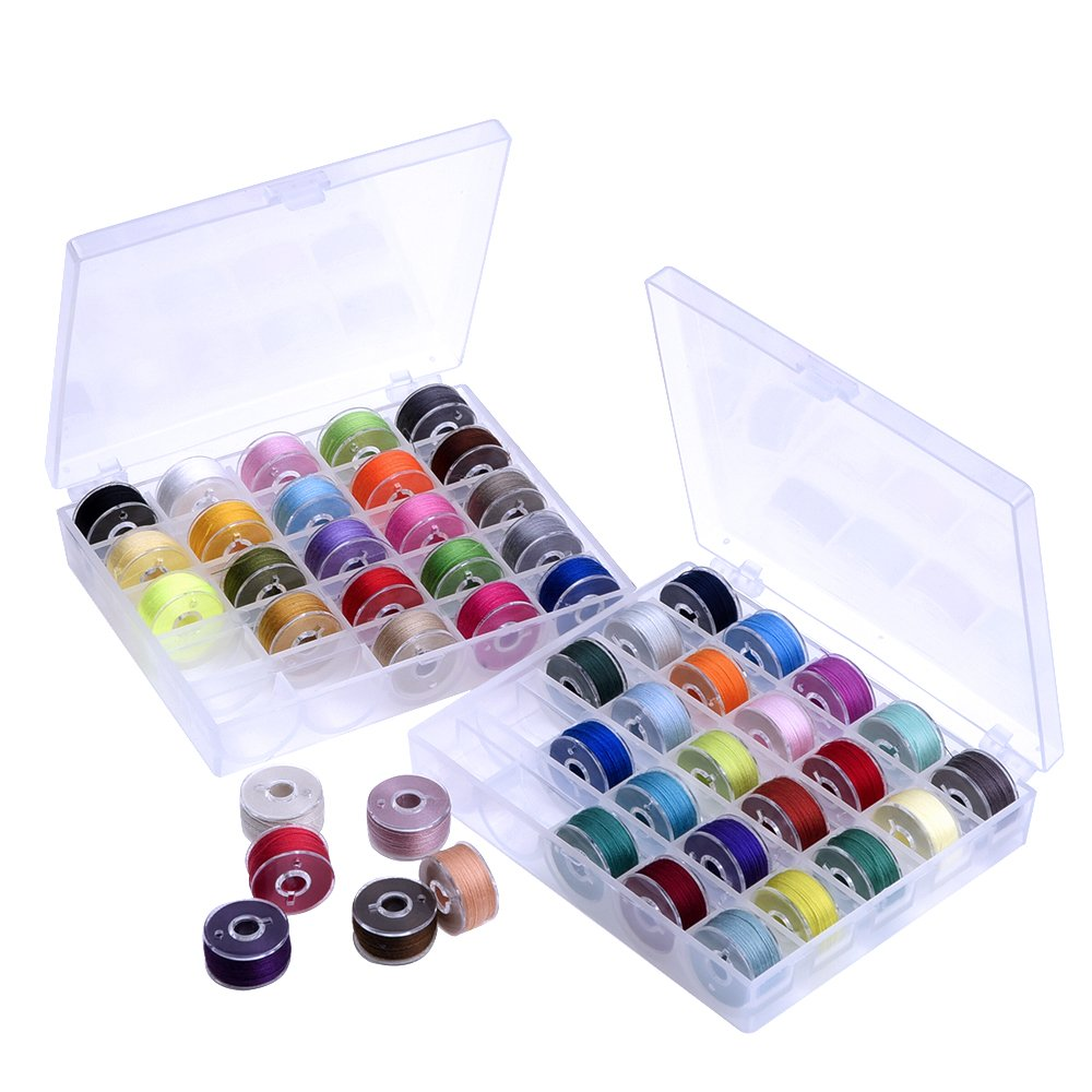 Outus Prewound Thread Bobbins with Bobbin Box for Brother/Babylock/Janome/Elna/Singer, Assorted Colors, 50 Pieces 4337000007