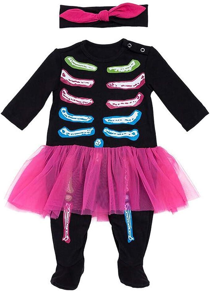 Disfraz Esqueleto Pijama Calavera Mono Niña Negro Pelele Bebe ...