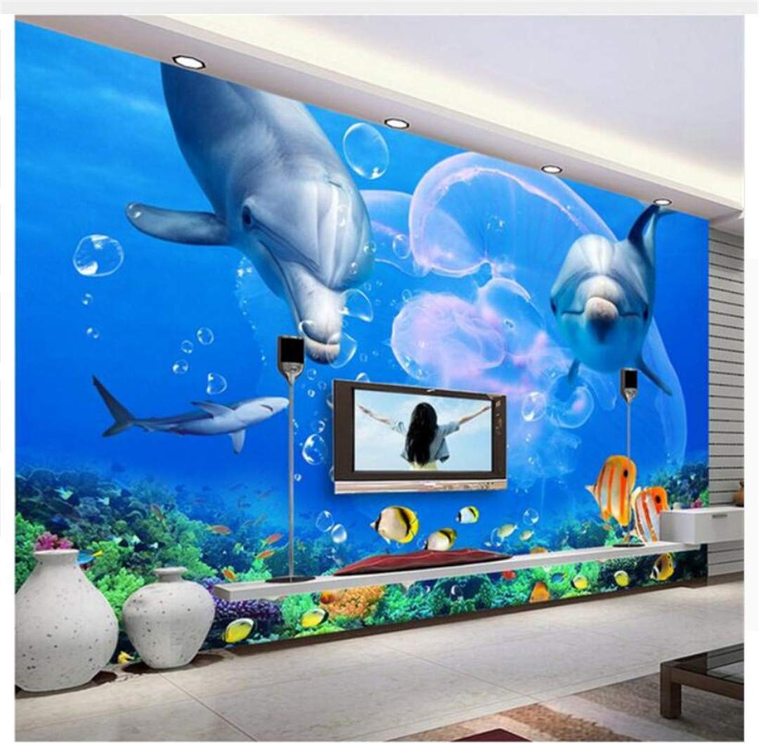 Wallpaper 3D Wall Mural Large Custom Custom 3D Wallpaper Living Room Dolphin Great White Shark Underwater World Photo Wall Paper Bedroom Kitchen Restaurant,150Cmx105Cm