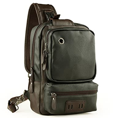4faa94fb2db RS Men s Leather Front Sling Backpack Satchel Shoulder Bag Chest Cycle Day  Packs Black