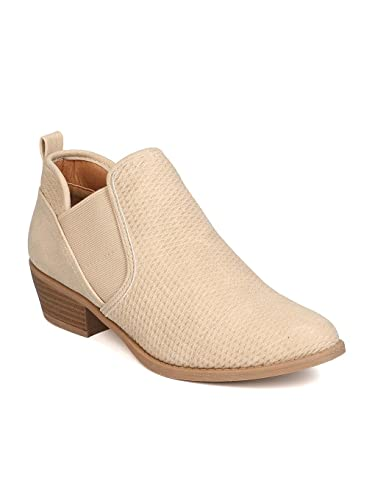 Women Nubuck Pointy Elastic Bootie - Casual Everyday Wear Office - Textured Chelsea Bootie - GB90 by