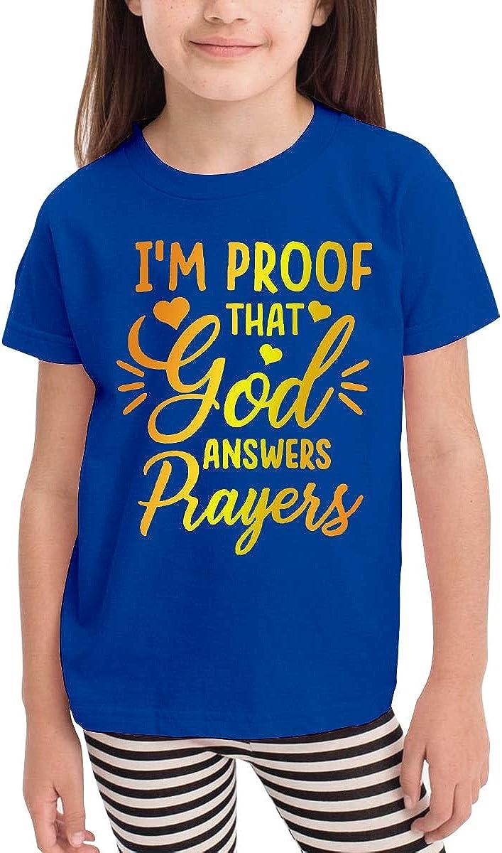 Kids T-Shirt Tops Black Im Proof That God Answers Prayers Unisex Youths Short Sleeve T-Shirt