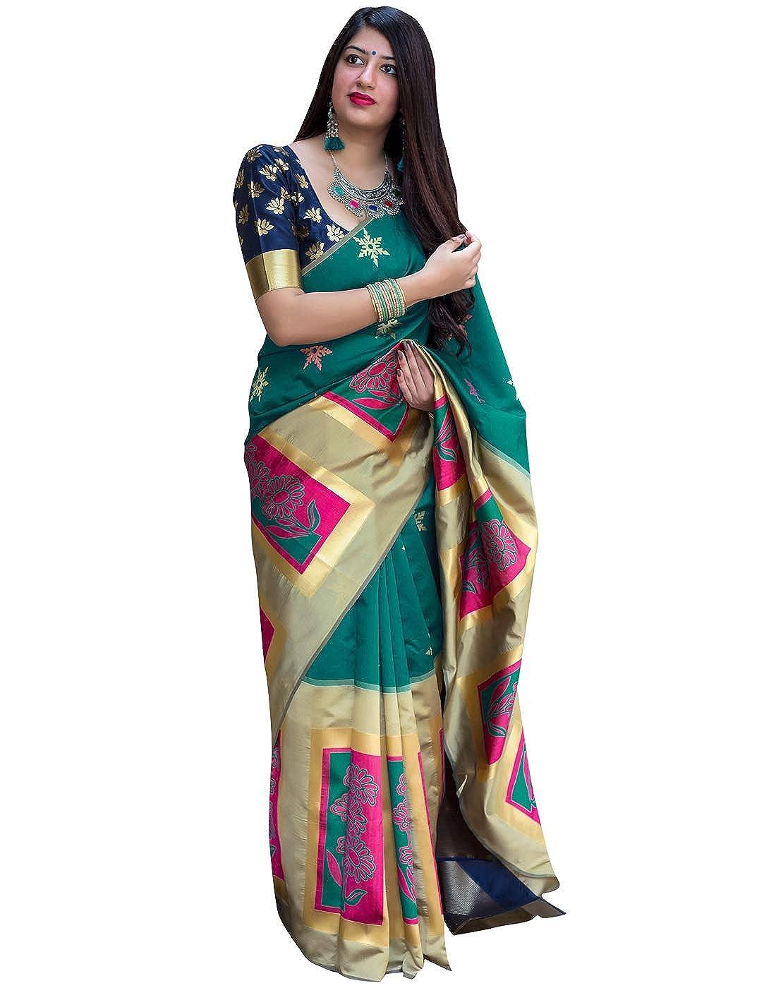 ee2915b334321e DesiButik's Elegant Green Silk Saree: Amazon.in: Clothing & Accessories