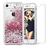 iPhone 7 Case, iPhone 8 Case, VEGO New Soft Bumper Liquid Glitter Full Protection Case with Diamond Shape Moving Glitters for Apple iPhone 7 (2016) / iPhone 8 (2017) (Rose Gold)