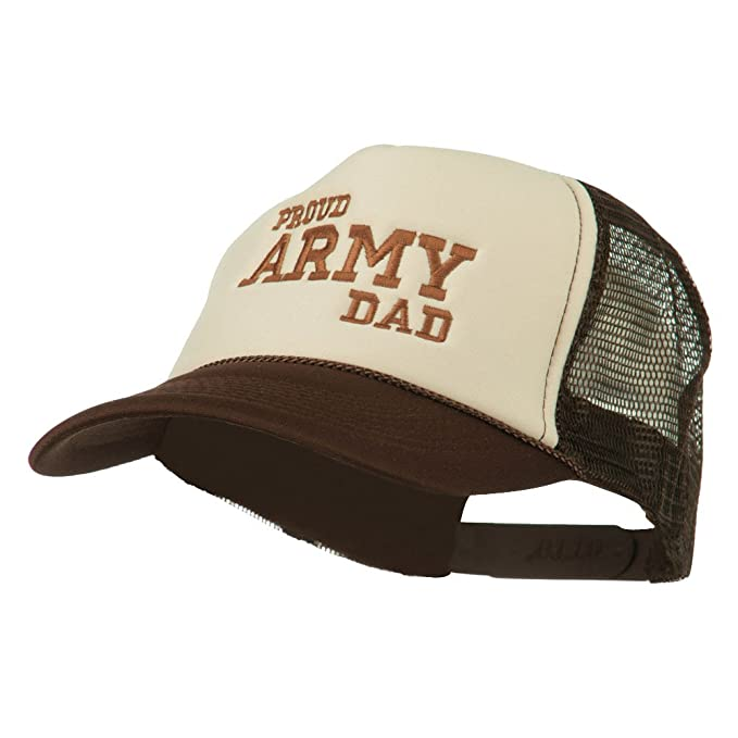 8ae552042e7 E4hats Proud Army Dad Embroidered Foam Mesh Cap - Brown Tan OSFM at ...