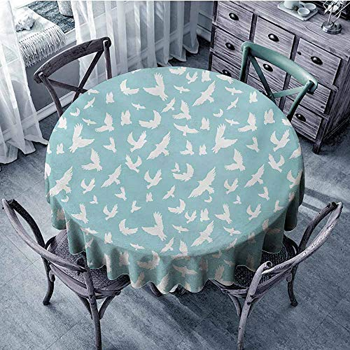 Blue Spillproof Tablecloth Flying Birds Open Wings Silhouettes Clear Summer Sky Hovering Feathered Animals Banquet 59