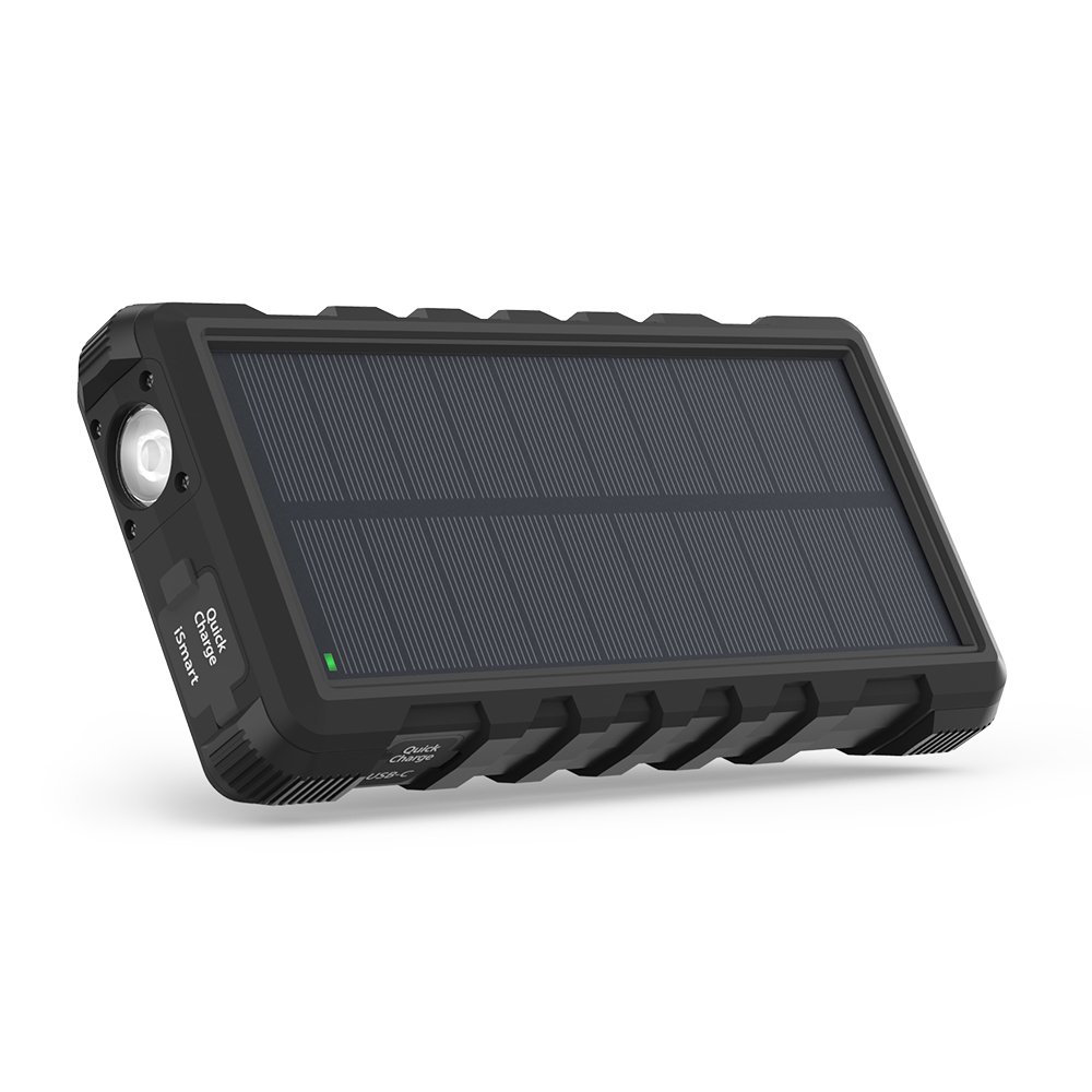 Solar Charger RAVPower 25000mAh Outdoor Portable Charger with Micro USB & USB C Inputs, Quick Charge Solar Power Bank with 3 Outputs, External Battery Pack with Flashlight - Shock, Dust & Waterproof