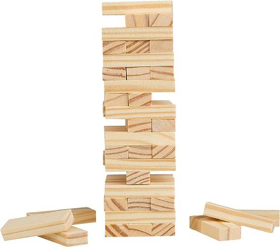 Idena 40206 - Juego de Viaje con 54 Bloques de Madera, Aprox. 4,8 x 4,8 x 14,4 cm, Color marrón Claro: Amazon.es: Juguetes y juegos