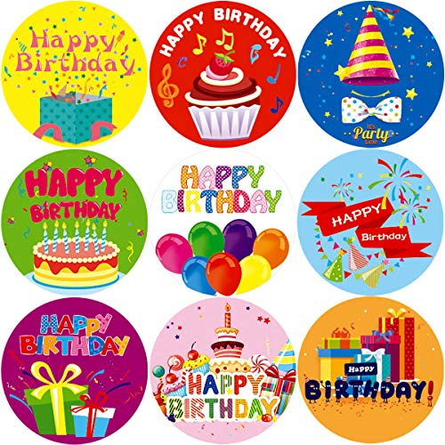 Fancy Land Happy Birthday Stickers for Kids 200Pcs Per Roll Party Supplies - Party Sticker Birthday