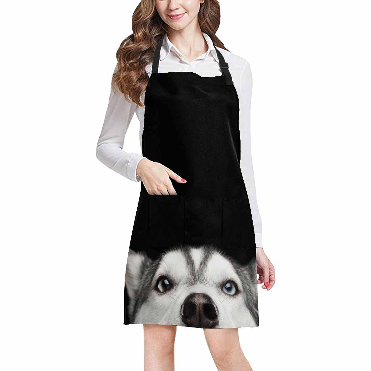 InterestPrint Hipster Funny Close Up Head Of Siberian Husky Dog With Blue Eyes Unisex Adjustable Bib Apron with Pockets for Women Men Girls Chef for Cooking Baking Gardening Crafting, Large Size